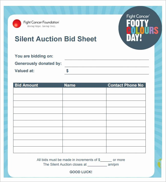 Silent Auction Gift Certificate Template Best Of Silent Auction Bid Sheet Template 29 Free Word Excel Pdf Pictures