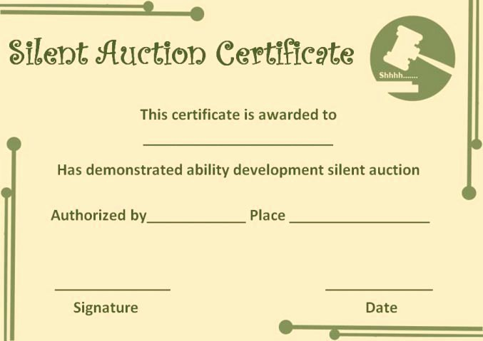 Silent Auction Gift Certificate Template Luxury Silent Auction Certificate Template Silent Auction Certificates