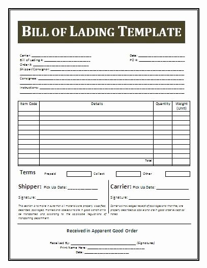 Simple Bill Of Lading Fresh Printable Sample Bill Lading Template form Real Estate forms Pinterest