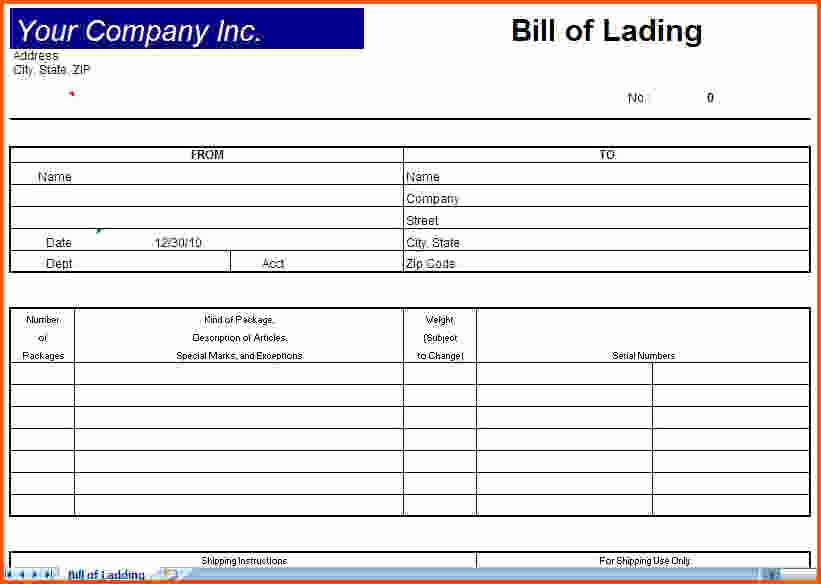 Simple Bill Of Lading Inspirational Bill Lading Template