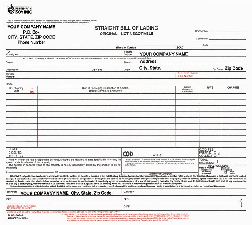 Simple Bill Of Lading Lovely Bill Lading form