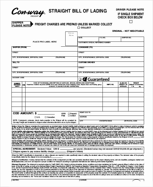 Simple Bill Of Lading Template Beautiful Simple Bill Of Lading Template 11 Free Word Pdf Documents Download