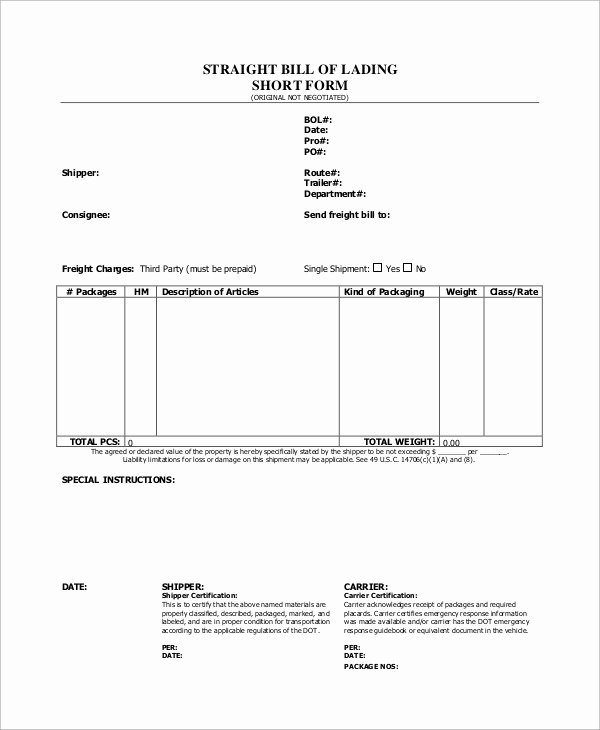 Simple Bill Of Lading Template Best Of Sample Bill Of Lading form 8 Examples In Word Pdf