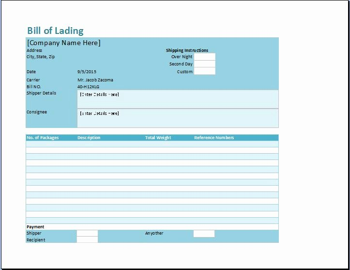 Simple Bill Of Lading Unique Bill Of Lading Template