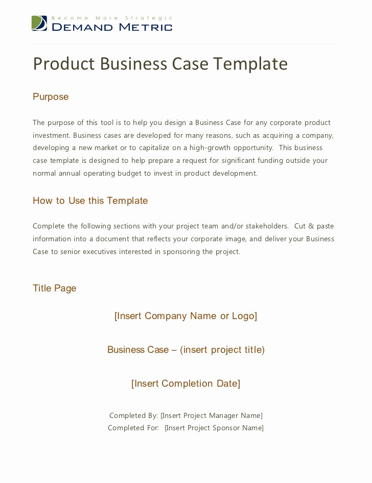 Simple Business Case Example Best Of Product Business Case Template