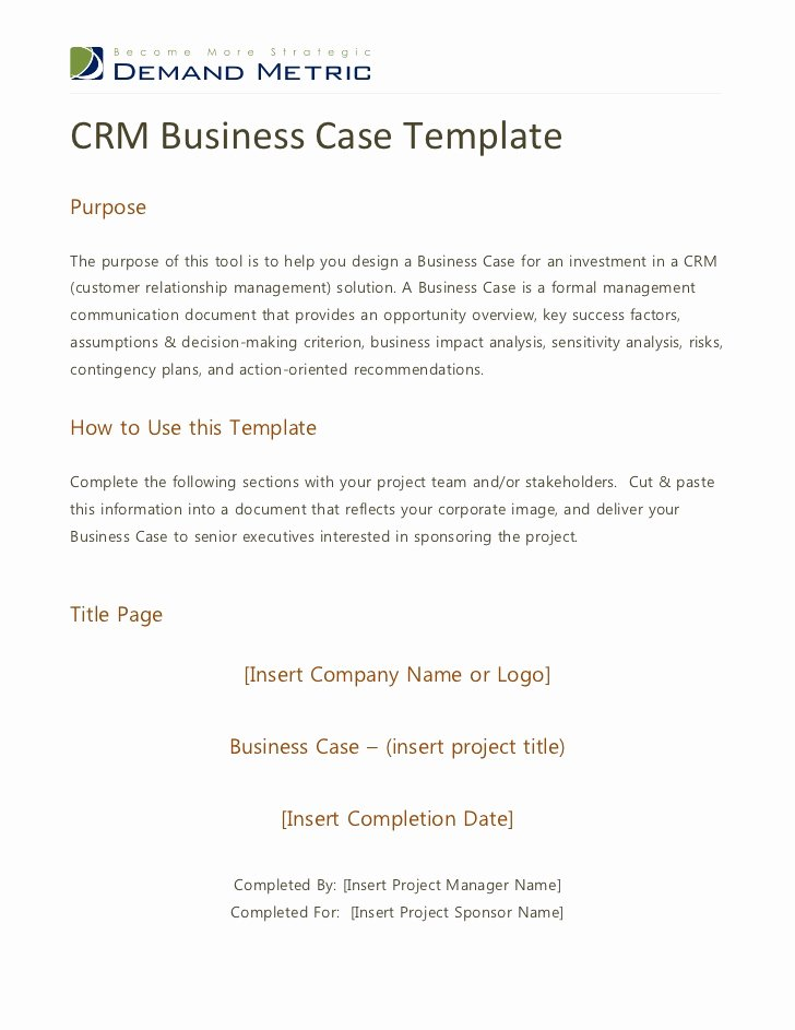 Simple Business Case Example New Crm Business Case Template