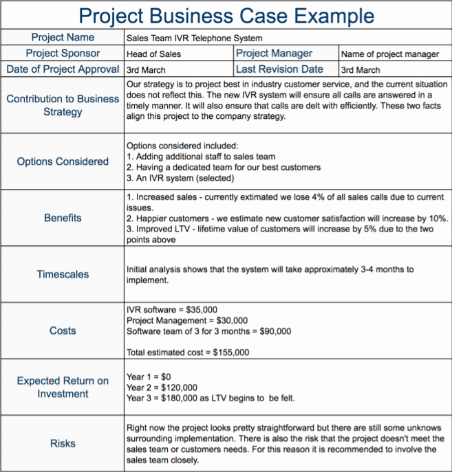 Simple Business Case Templates Inspirational Project Business Case Example Expert Program Management