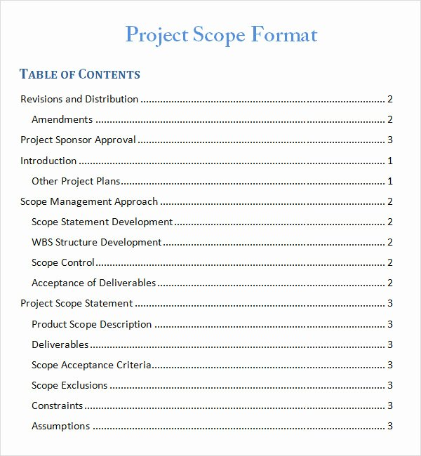 Simple Project Scope Template Awesome Project Scope Template