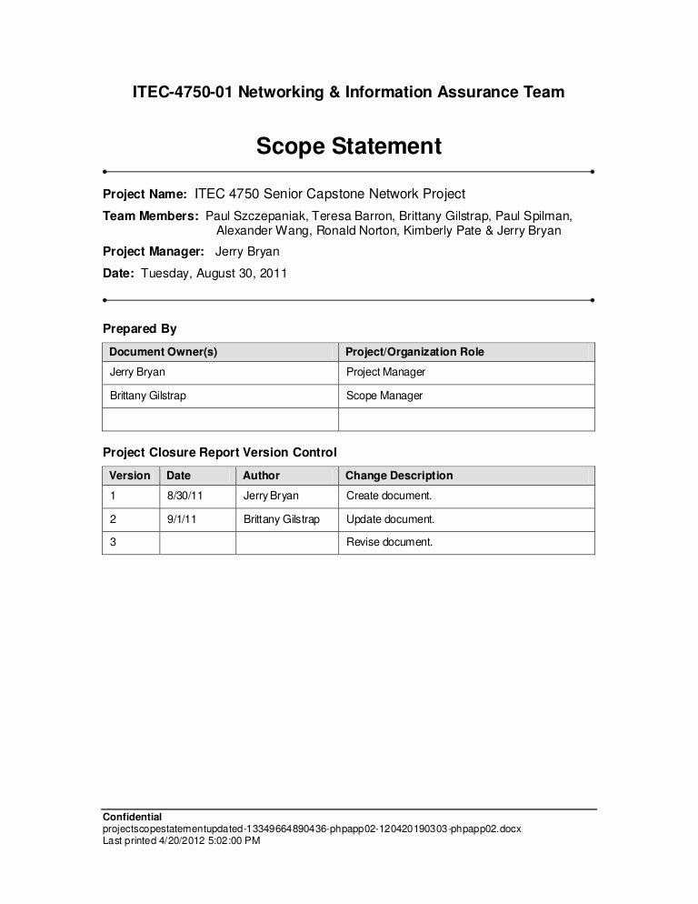 Simple Project Scope Template Beautiful Project Scope Statement