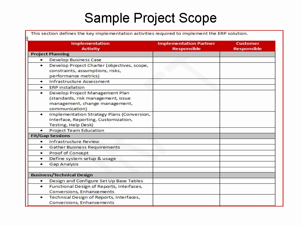 Simple Project Scope Template New Project Scope
