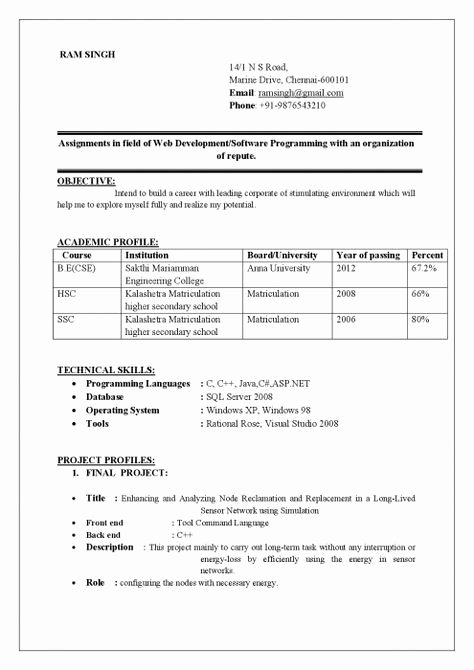 Simple Resume format for Freshers Elegant Best Cv format for Freshers Doc Tag Resume format Doc for Fresher