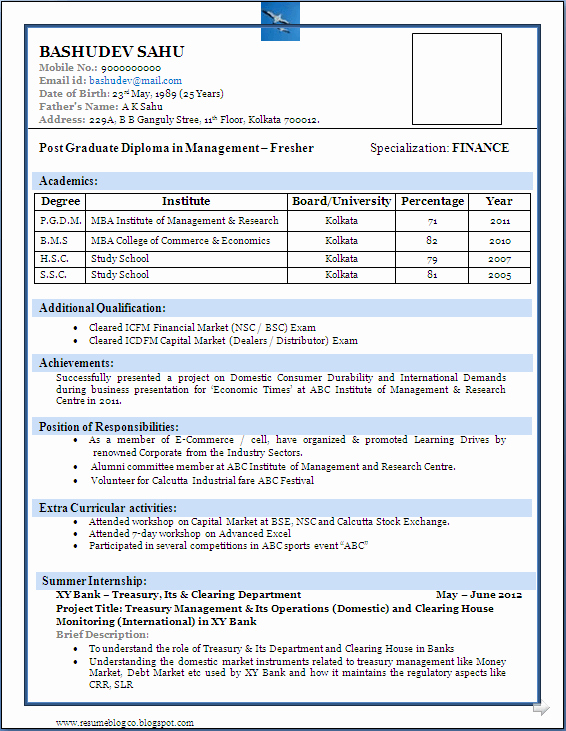 Simple Resume format for Freshers Elegant Best Resume format for Freshers Niveresume