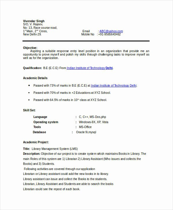 Simple Resume format for Freshers Fresh 7 Basic Fresher Resume Templates Pdf Doc