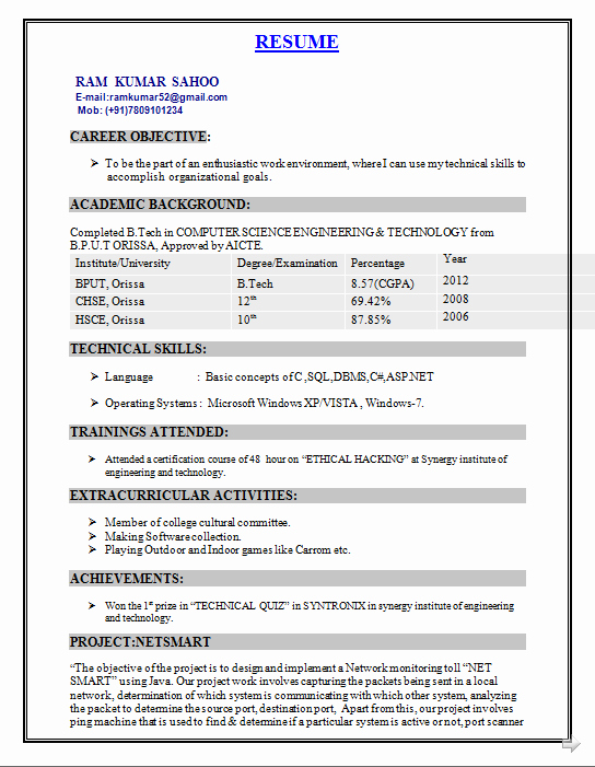 Simple Resume format for Freshers Inspirational B Tech Rohit Pant