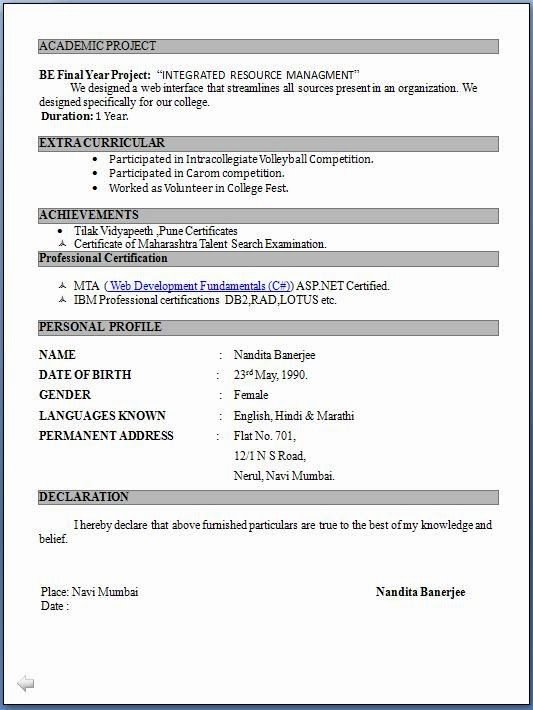 Simple Resume format for Freshers New Resume format Pdf for Freshers Latest Professional Resume formats In Word format for Free