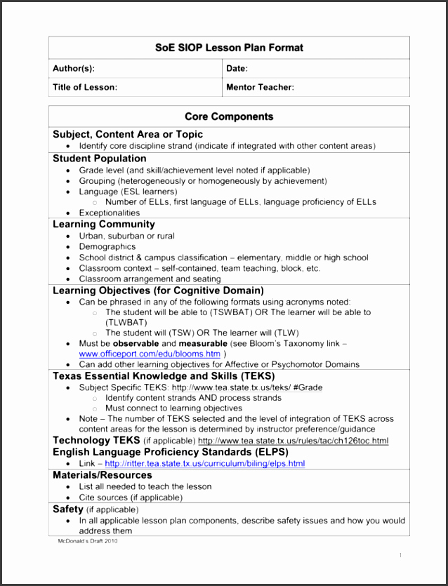 Siop Lesson Plan Template 1 Best Of 9 Lesson Plan Checklist Sample Sampletemplatess Sampletemplatess