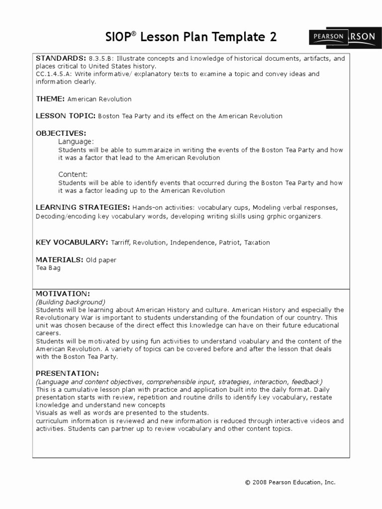 Siop Lesson Plan Template 1 Best Of Siop Lesson Plan Template 2 Standards
