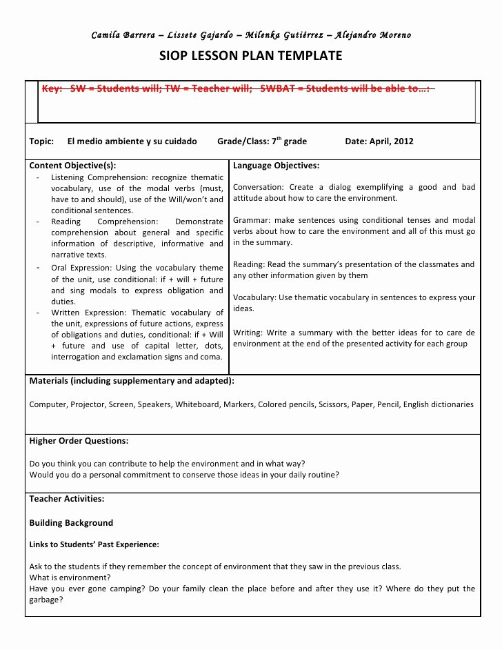 Siop Lesson Plan Template 1 Inspirational Siop Unit Lesson Plan Template Sei Model