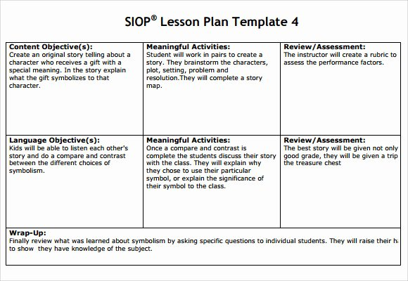 Siop Lesson Plan Template 2 Beautiful Sample Siop Lesson Plan 9 Documents In Pdf Word
