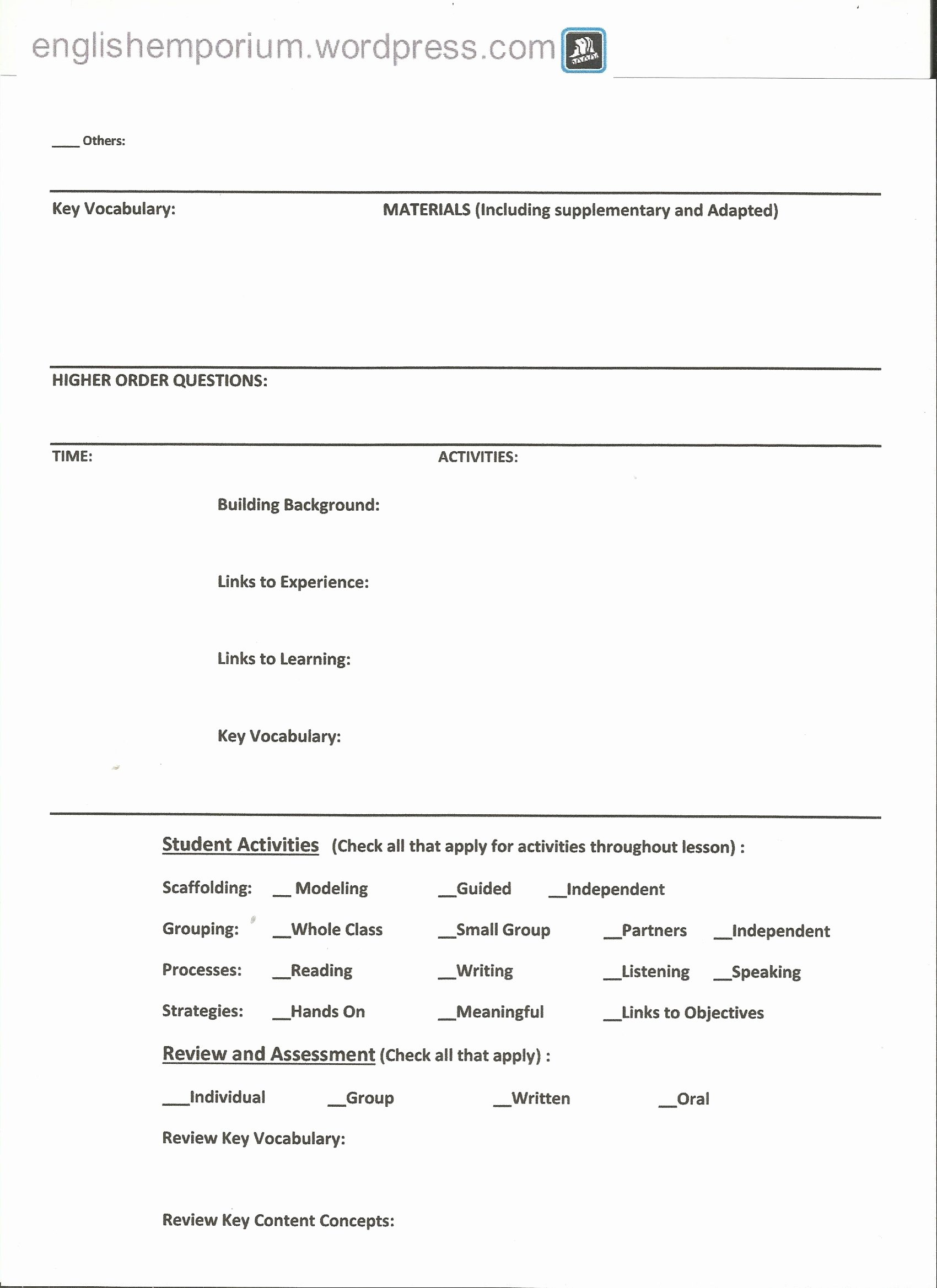 Siop Lesson Plan Template 2 Elegant Siop Lesson Plan Checklist for 7th Grade Geography Page2