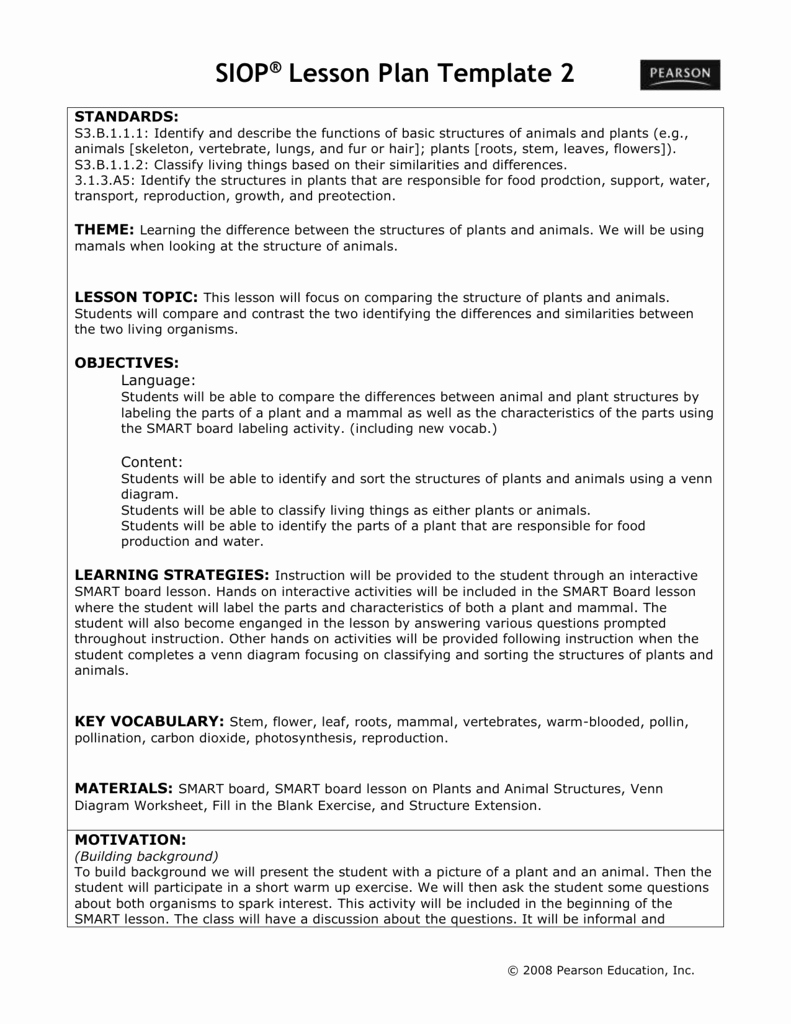 Siop Lesson Plan Template 2 Fresh File Intro to English Language Learners