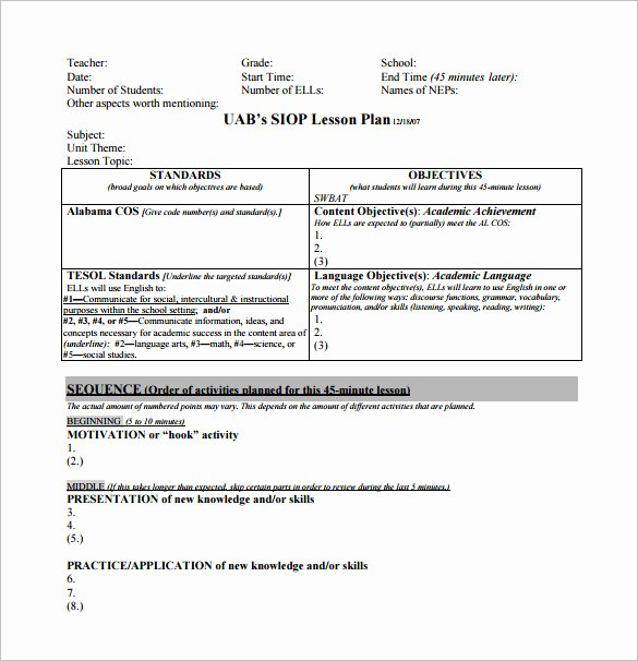 Siop Lesson Plan Template 2 Luxury 10 Siop Lesson Plan Templates Doc Excel Pdf