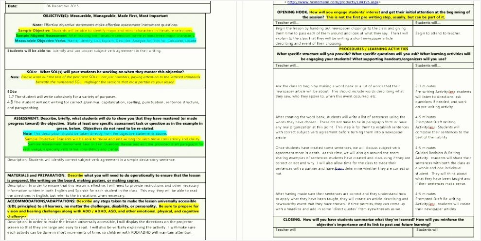 Siop Lesson Plan Template 2 New 10 Lesson Plan Checklist Template Besttemplatess123