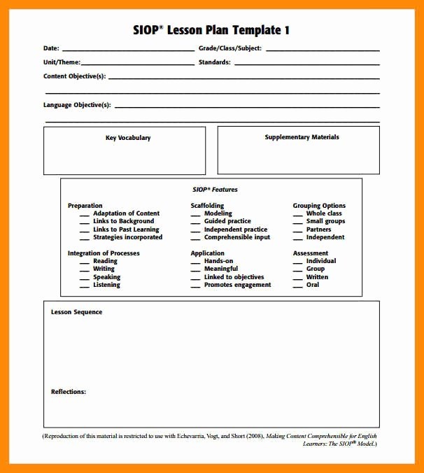 Siop Lesson Plan Template 2 New Siop Lesson Plan Template 2