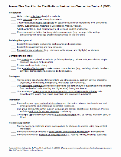 Siop Lesson Plan Template 2 Unique Here is A Helpful Siop Lesson Plan Checklist Siop Resources