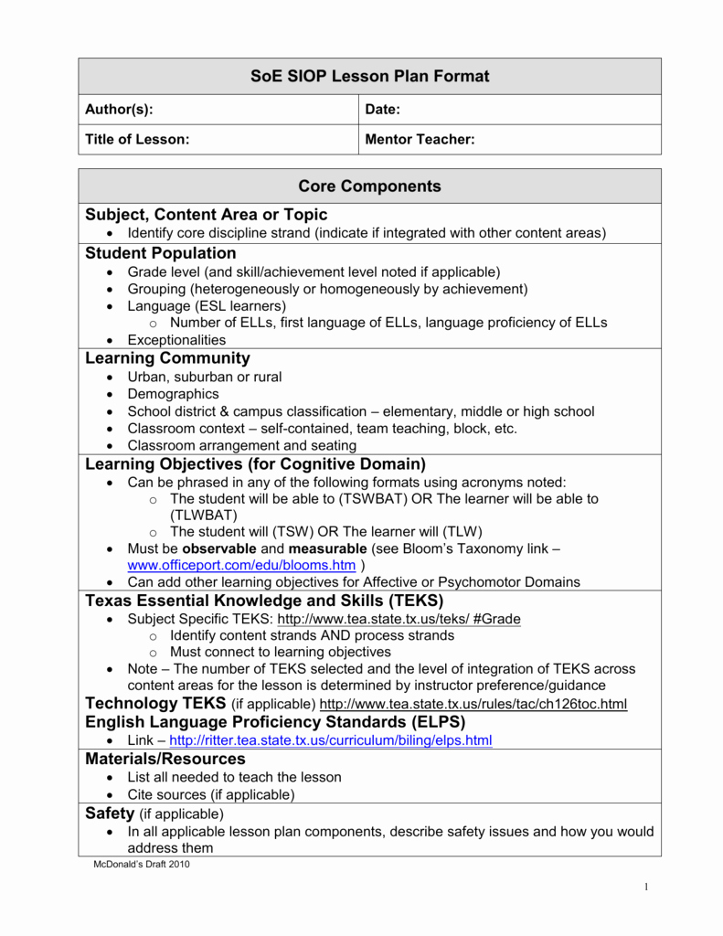 Siop Lesson Plan Template 3 Beautiful Siop Lesson Plan Guidelines