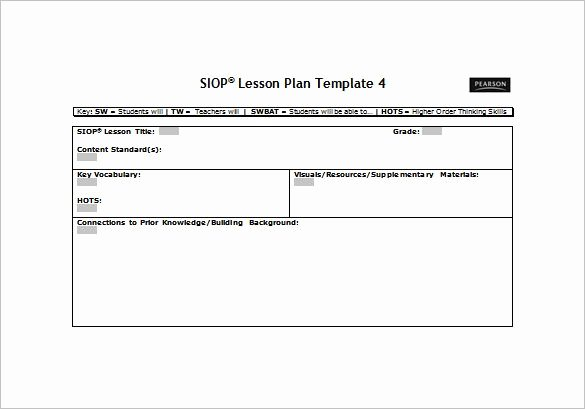 Siop Lesson Plan Template 3 Lovely Siop Lesson Plan Template Free Word Pdf Documents Download