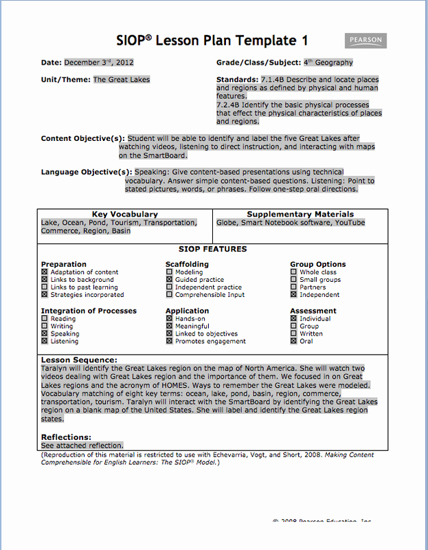 Siop Lesson Plan Template 3 New Content and Language Objectives Planning Template Lesson Plans Planning Instruction 7 Enhanced