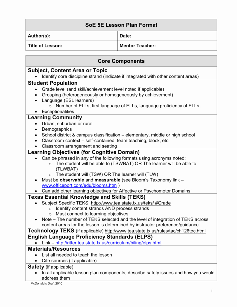 Siop Model Lesson Plan Template Best Of 5e Lesson Plan Guidelines