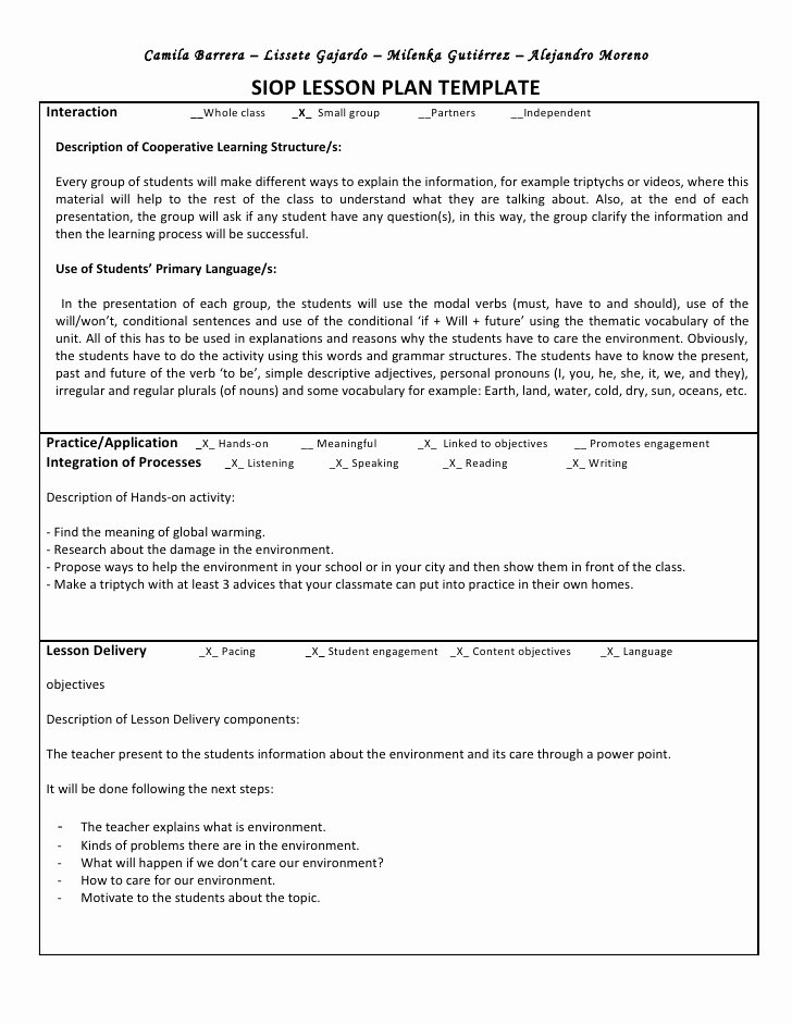 Siop Model Lesson Plan Template Elegant Siop Unit Lesson Plan Template Sei Model