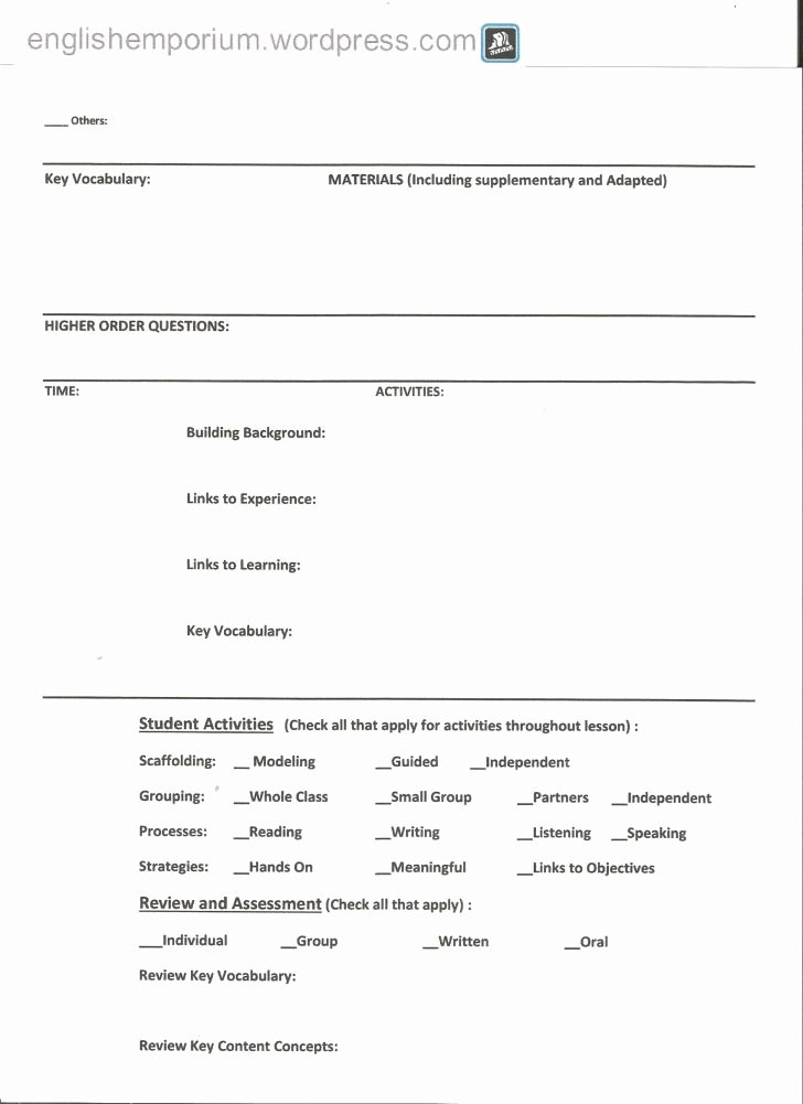 Siop Model Lesson Plan Template Inspirational Siop Lesson Plan Template – Calla Lesson Plan Template 34 Similar Files