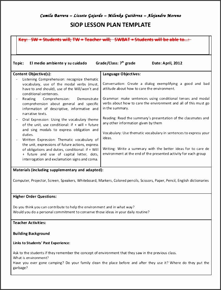 Siop Model Lesson Plan Template Lovely 9 Lesson Plan Checklist Line Sampletemplatess Sampletemplatess