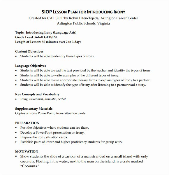 Siop Model Lesson Plan Template Unique Sample Siop Lesson Plan 9 Documents In Pdf Word