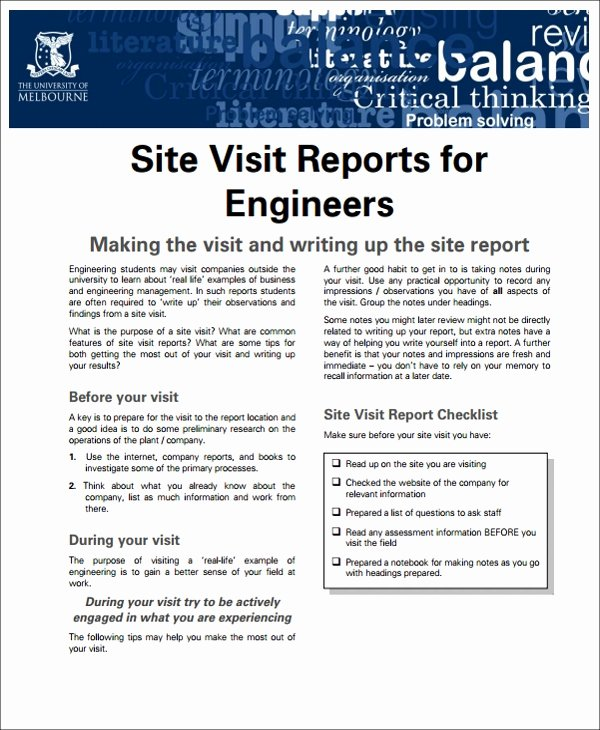 Site Visit Report Template Fresh 13 Sample Visit Reports Word Pdf Pages