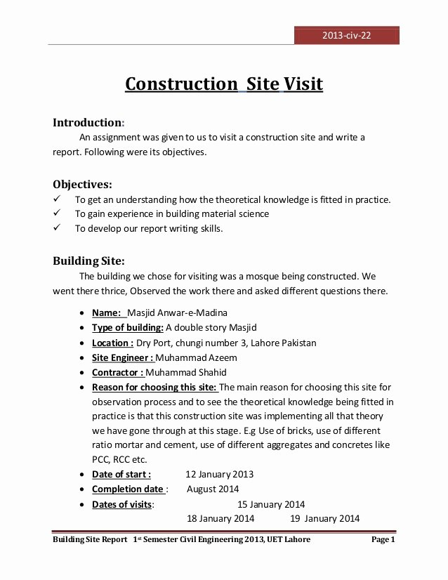 Site Visit Report Templates Best Of Visit to A Construction Site