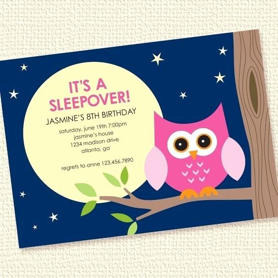 Slumber Party Invitations Templates Free Awesome Items Similar to Night Owl Girl Sleepover Birthday Party Invitation Personalized Printable