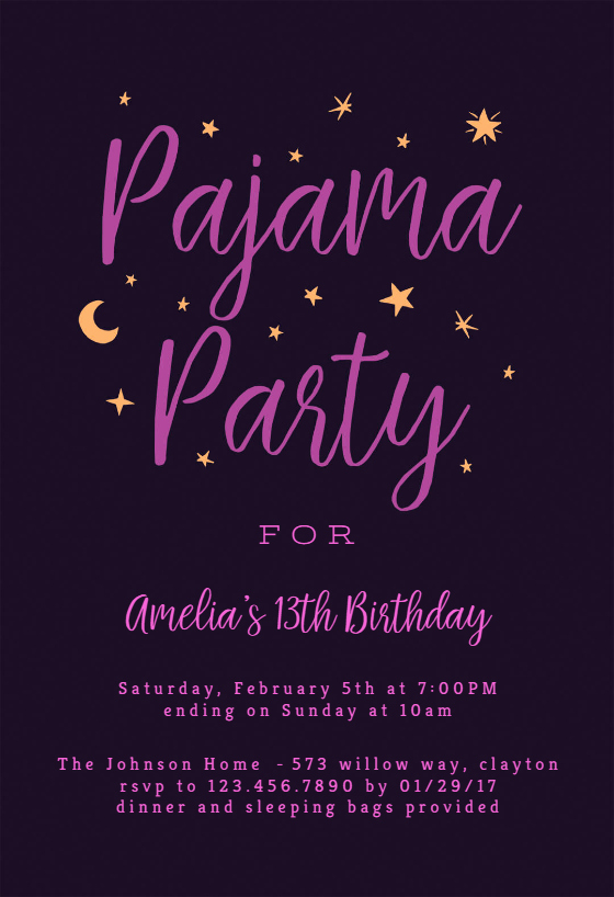 Slumber Party Invitations Templates Free Awesome Pajama Party Sleepover Party Invitation Template Free