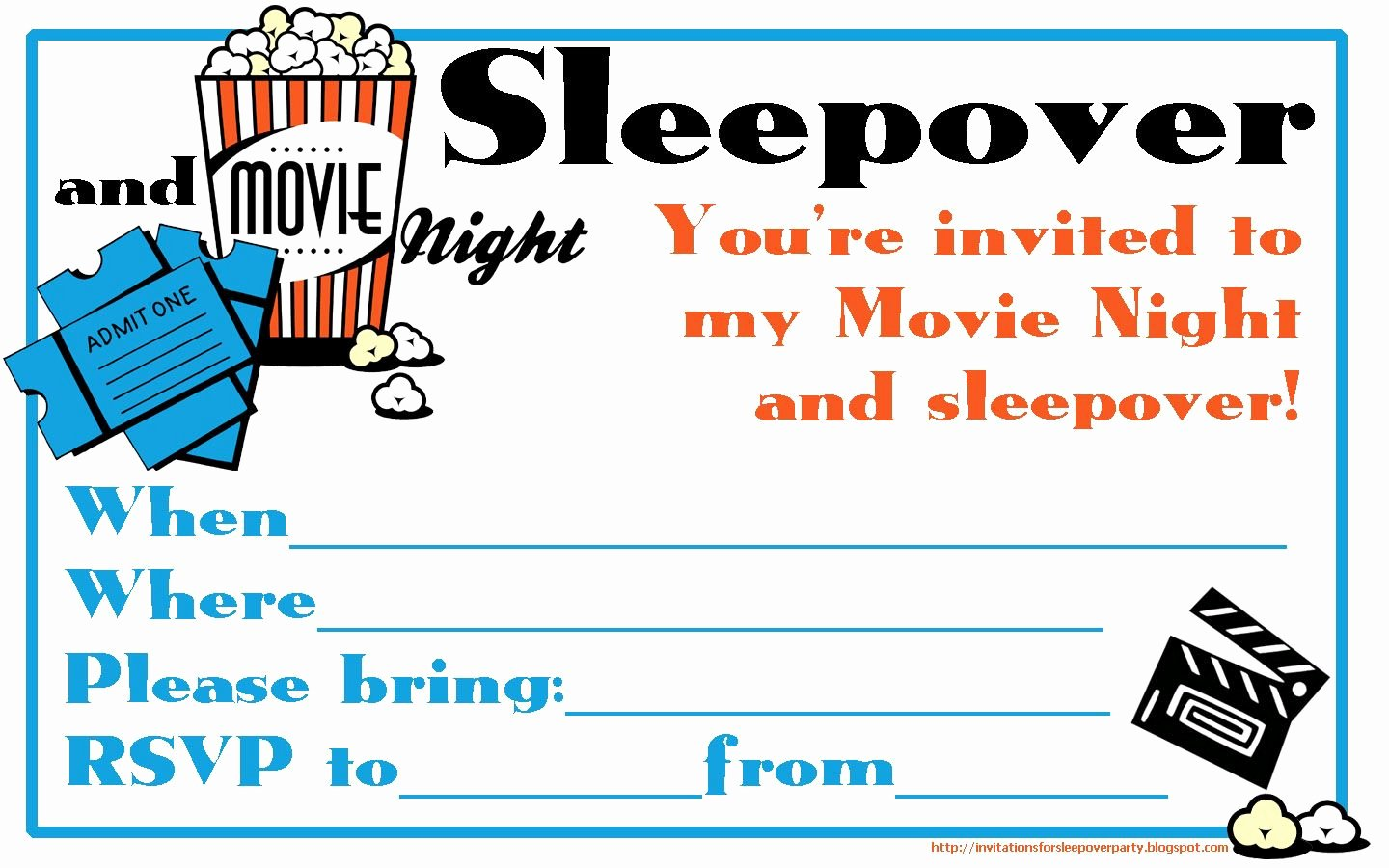 Slumber Party Invitations Templates Free Beautiful Fill the Blanks On This Movie Night and Sleepover Invitation and Send It to Your Friends Just