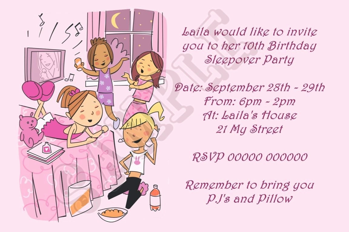 Slumber Party Invitations Templates Free Lovely Awesome Free Printable Slumber Party Birthday Invitations