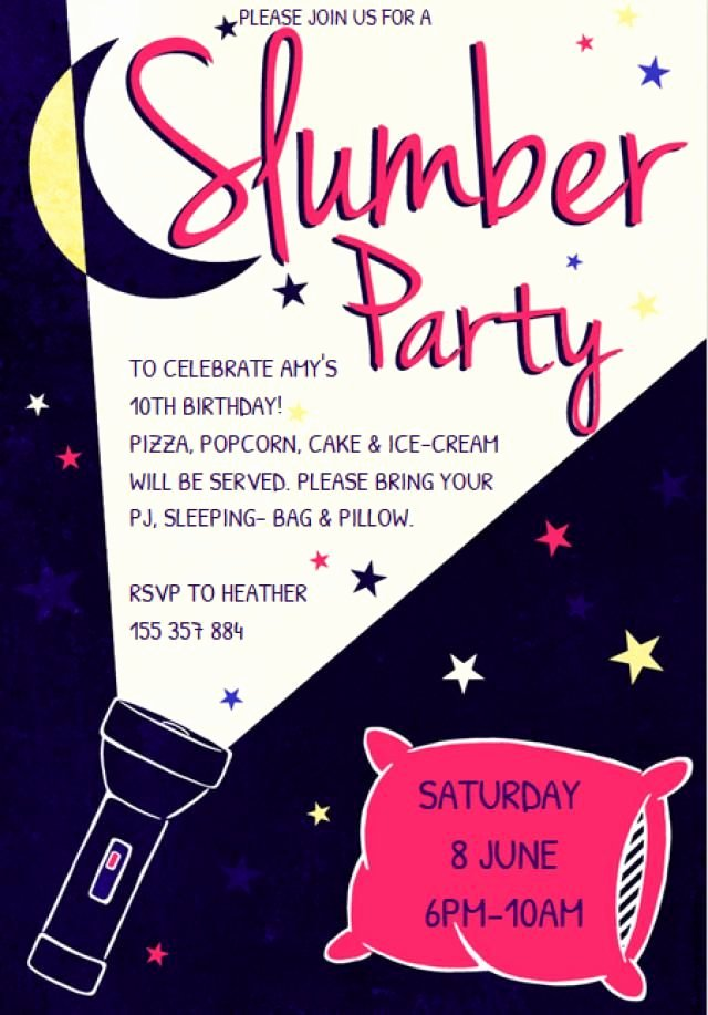 Slumber Party Invitations Templates Free Lovely Customize A Free Printable Slumber Party Invitation Flashlight Slumber Party Invitation by