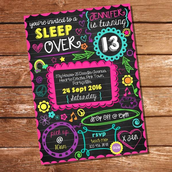 Slumber Party Invitations Templates Free New Neon Sleepover Doodle Invitation Tween Party