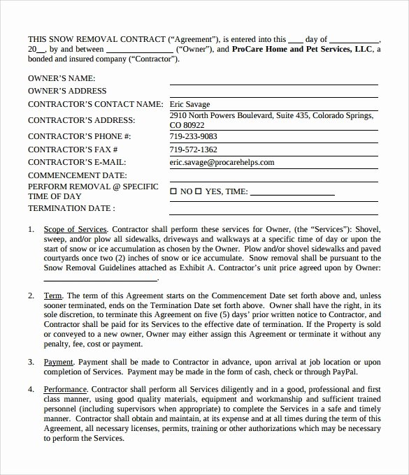 Snow Plow Contract Sample Awesome Snow Plowing Contract Template 6 Download Documents In Pdf Word Google Docs