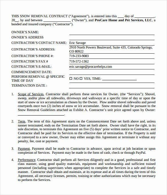 Snow Plow Contract Template Luxury Snow Plowing Contracts