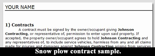 Snow Plow Contract Template New Snow Plow Contract Sample