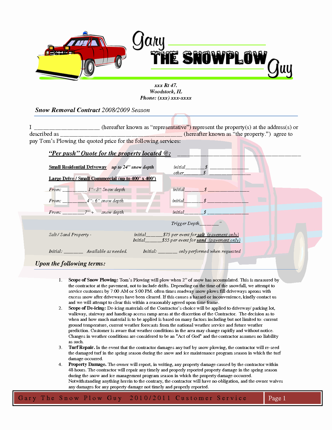 Snow Removal Contract Sample Beautiful Snow Removal Proposal Template