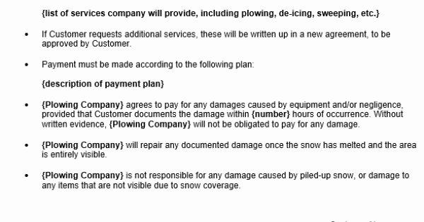 Snow Removal Contract Sample Elegant Free Snow Removal Contract Template Contracts Pinterest